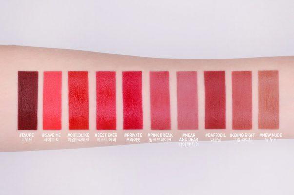 Bảng màu son kem lì 3CE Velvet Lip Tint