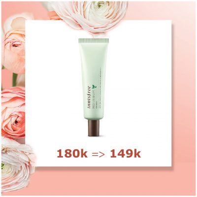 - Kem lót innisfree no-sebum: 180k -> 149k