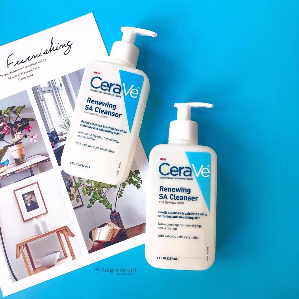 Sữa rửa mặt CeraVe Renewing SA Cleanser (chai 237ml) dành cho da mụn mà không làm khô da